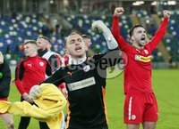 Tennent\'s Irish Cup Quarter-Final, Windsor Park, Belfast 13/3/2018 . Linfield vs Cliftonville. Cliftonville\'s goalkeeper Brian Neeson celebrates after the game. Mandatory Credit ©INPHO/Jonathan Porter