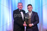 Press Eye - Belfast - Northern Ireland - 6th February 2017 -  . Belfast Telegraph Sports Awards 2016..  Award 13 - Sports Star of the Year 2016 . Carl Frampton lifted the trophy for Sports Star of the Year 2016 at the Belfast Telegraph Sports Awards presented by managing director of the Belfast Telegraph, Richard McClean.. Photo by Kelvin Boyes / Press Eye..