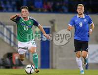 PressEye - Belfast - Northern Ireland - 10th October 2017. Euro 2019 Qualifier. Northern Ireland U21 vs Estonia U21. Pictured: Northern Ireland\'s Jordan Thompson and Estonia\'s Mihkel Ainsalu.. Picture: PressEye / Philip Magowan