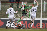 29/02/20. Sadlers Peaky Blinders Irish Cup Quarter final between Glentoran  and Crusaders at the Oval Belfast. Glentorans Rory Donnelly collides with  Crusaders Gerad Doherty. Mandatory Credit - Inpho/Stephen Hamilton.
