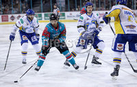Press Eye - Belfast -  Northern Ireland - 09th February 2018 - Photo by William Cherry/Presseye. Belfast Giants David Rutherford with Fife Flyers James Isaacs during Friday nights Elite Ice Hockey League game at the SSE Arena, Belfast.