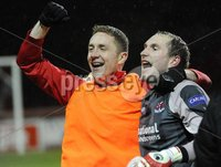 ©Press Eye Ltd Northern Ireland - 23rd April 2012. Setanta cup semi final second leg match between Sligo Rovers and Crusaders at Sligo show grounds..  Crusaders Sean ONeill celebrates with Timmy Adamson  at the final whistle.  Mandatory Credit - Picture by Stephen Hamilton /Presseye.com. .