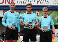 PressEye-Northern Ireland- 27th   July  2018-Picture by Brian Little/PressEye. SuperCupNI. Minor  Section . Referee Awards  for Greenisland      against Bertie Peacock Youths       during the SuperCupNI Minor Final  at Coleraine Showgrounds. . Picture by Brian Little/PressEye